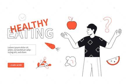 Gesundes Essen - Webbanner im flachen Designstil