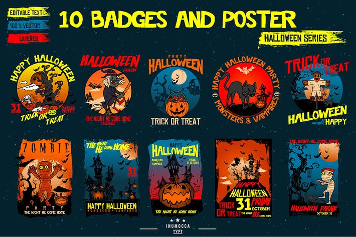Thumbnail for Halloween Badges and Poster