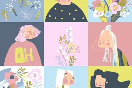 Cartoon schönes Mädchen mit Blumen. Glückliche Frauen