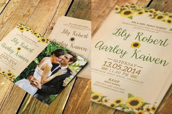 Thumbnail for Sunflower Wedding Invitation & Post Card