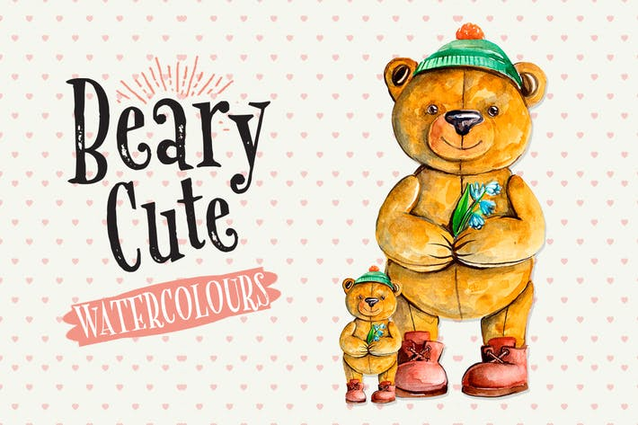 Cover Image For Cute Teddy Bear - Watercolour Illustration