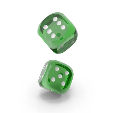 Dices Falling Transparent Green White