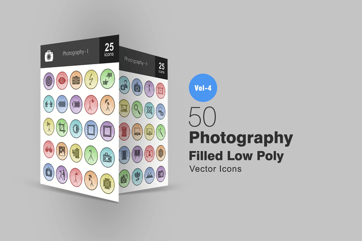 Cover Image For 50 Photography Filled Low Poly Icons