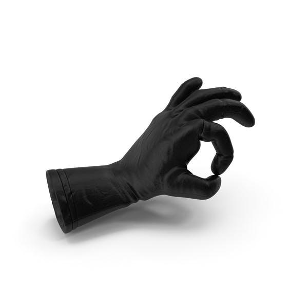Black Leather Glove Ok Pose