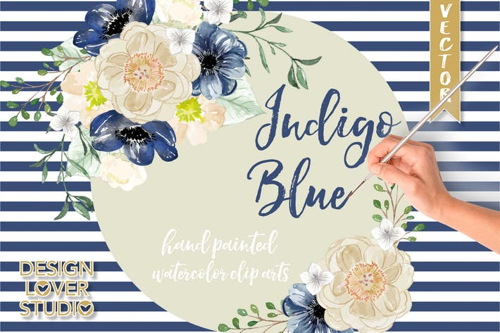 Thumbnail for Watercolor Indigo Blue floral clip arts