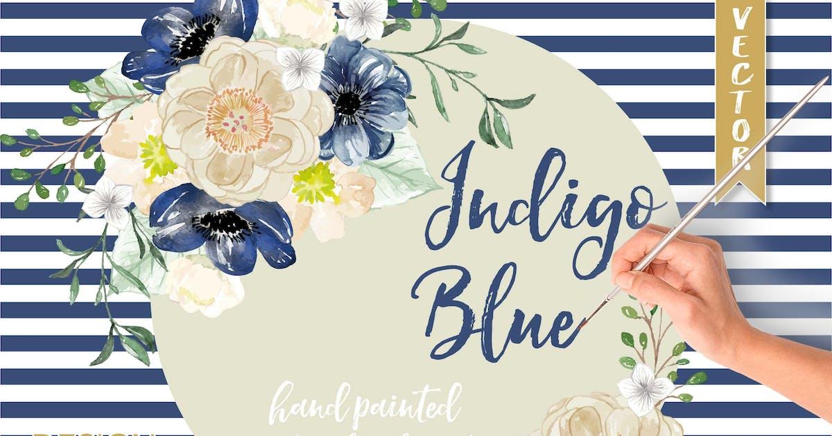 Download Watercolor Indigo Blue floral clip arts by designloverstudio