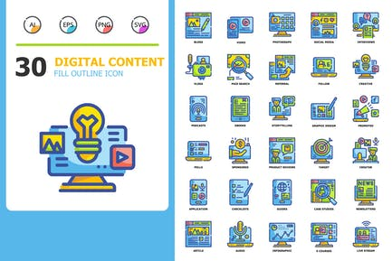 Digital Content Fill Outline Icons