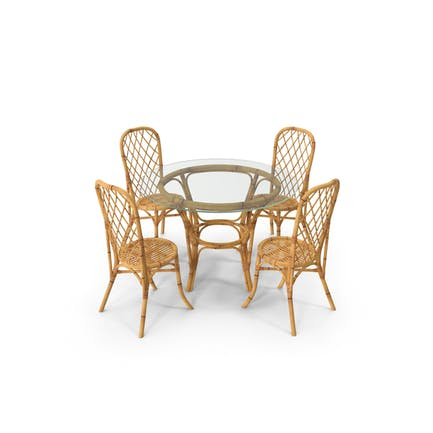 Bamboo Dining Table Glass Top with Chairs
