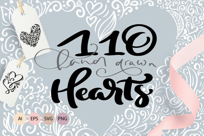 Thumbnail for Valentine vector hand draw hearts