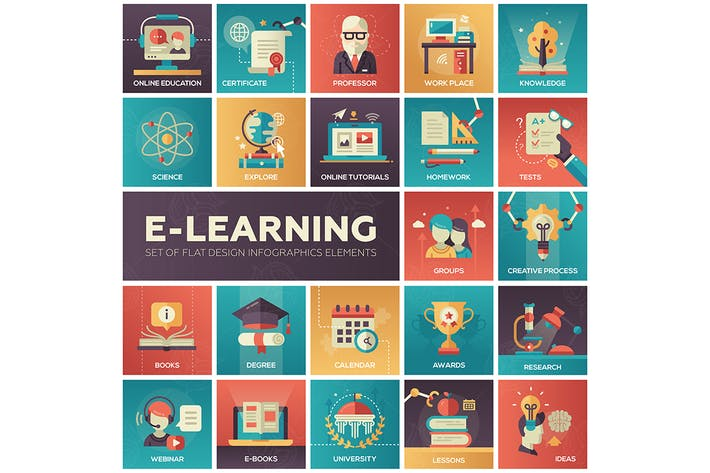 Cover Image For E-learning - modern flat design style icons