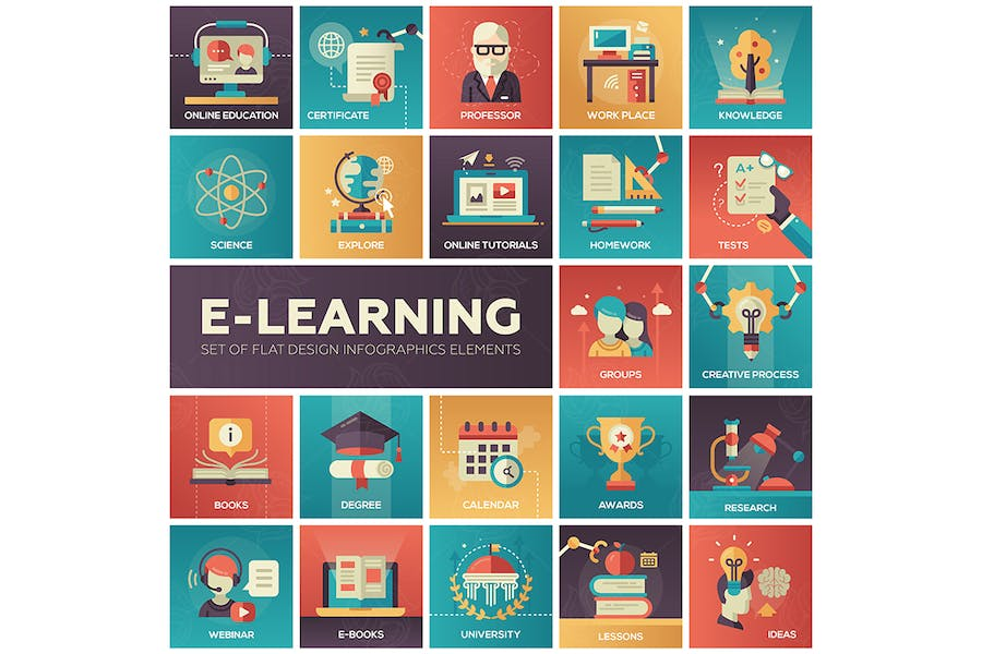 E-learning - modern flat design style icons