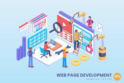 Isometric Web Page Development Vector Concept
