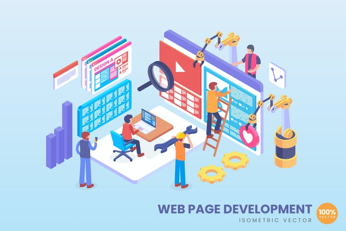 Thumbnail for Isometric Web Page Development Vector Concept
