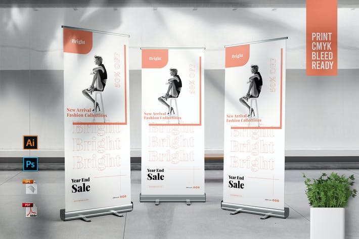 Thumbnail for BRIGHT Fashion Store Roll Up Banner Template