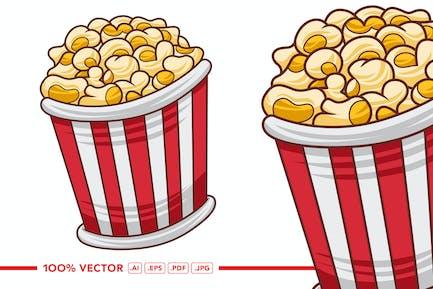 Popcorn-Vektor im flachen Design-Stil
