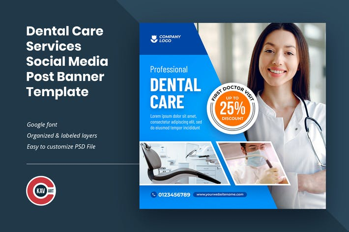 Dental Care Services Social Media Post Template