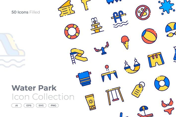Wasserpark gefüllt Icon