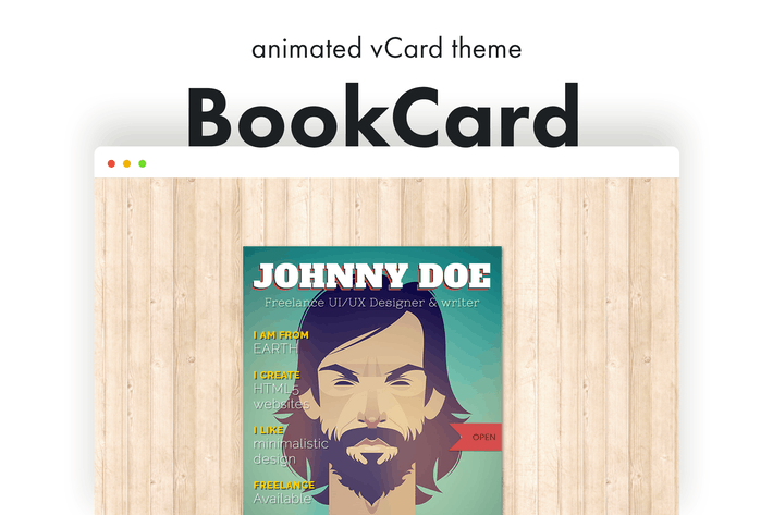 Thumbnail for BookCard - 3D gefaltete vCard WordPress Thema