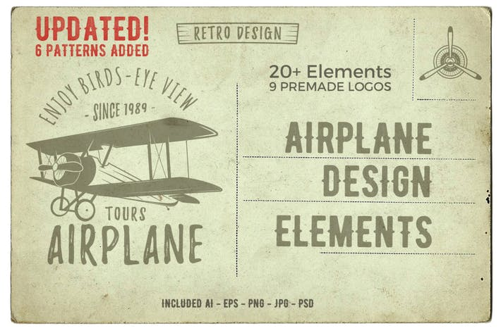 Thumbnail for Airplane Vintage Logo / Badges & Design Elements