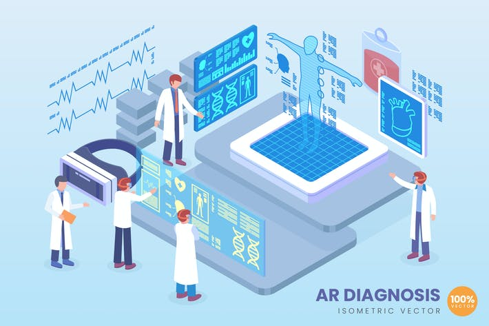 Thumbnail for Isometric Augmented Reality Diagnosis Vector