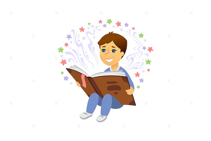 Thumbnail for Boy reading - vector cartoon illustration