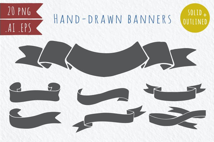 Cover Image For 20 hand-drawn vector banners