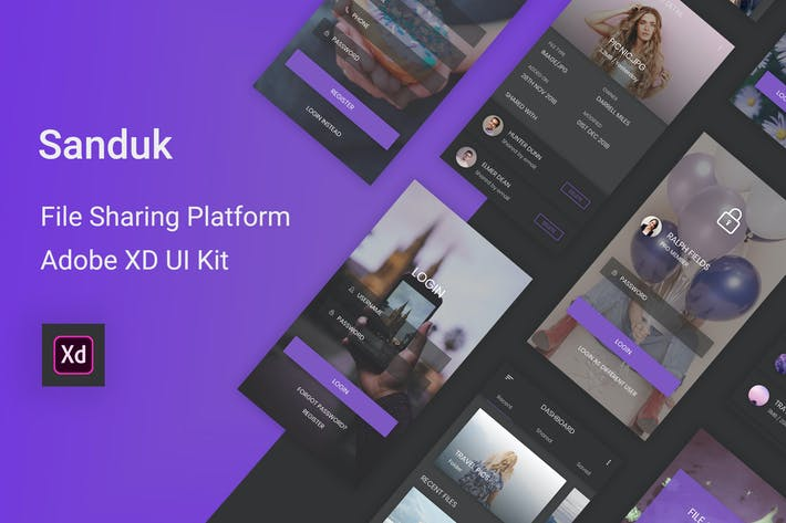 Thumbnail for Sanduk - File Sharing Platform UI Kit for Adobe XD