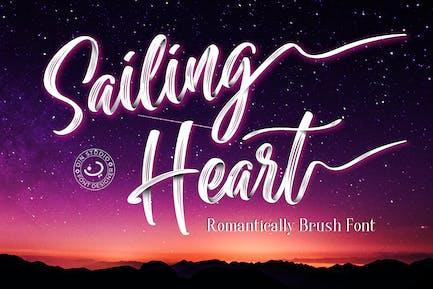 Sailing Heart - Textured Script Font