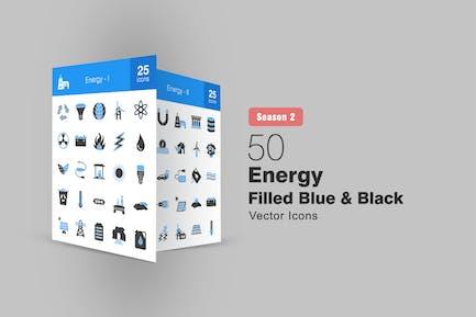 50 Energy Filled Blue & Black Icons Season II
