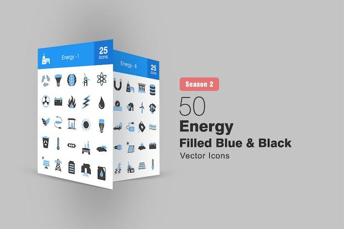 Thumbnail for 50 Energy Filled Blue & Black Icons Season II