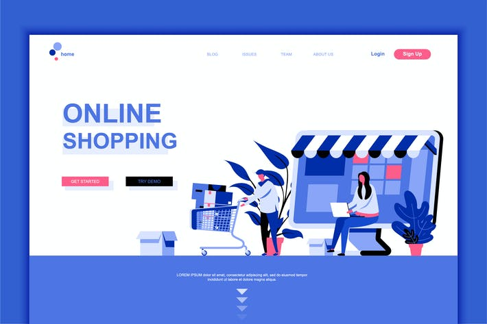 Thumbnail for Online Shopping Flat Landing Page Template