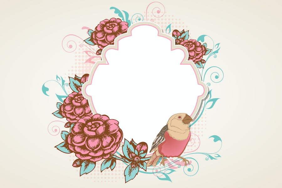Vintage Background with Flowers and Bird