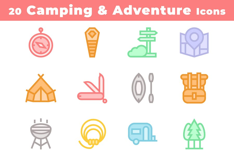 20 Camping and Adventure Icons
