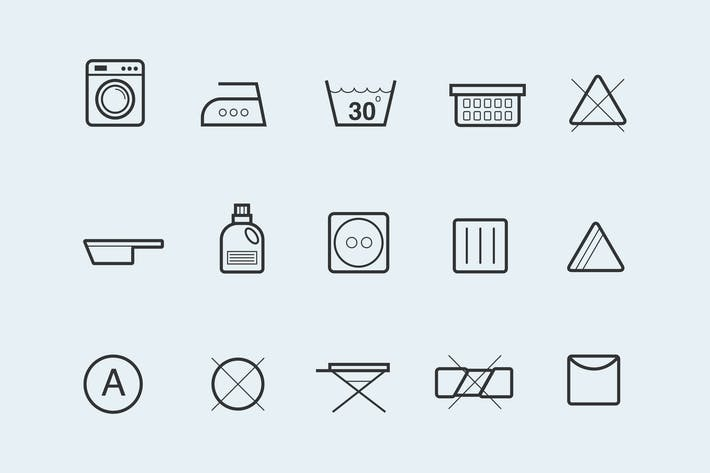 Thumbnail for 15 Laundry Symbols and Icons