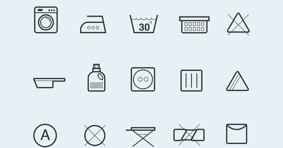 Download 15 Laundry Symbols and Icons by creativevip