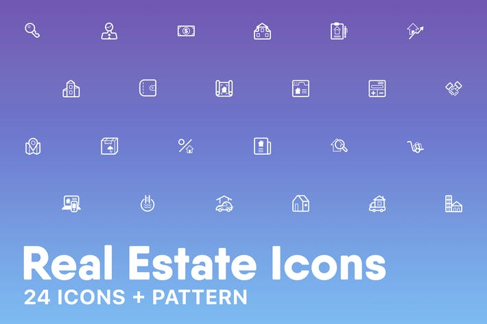 Thumbnail for Real Estate Icons + Pattern