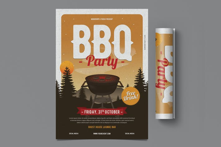 Thumbnail for Flyer de fête pour barbecue