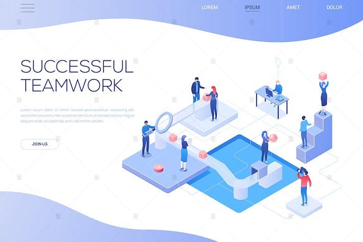 Erfolgreiche Teamarbeit - isometrisches WebBanner
