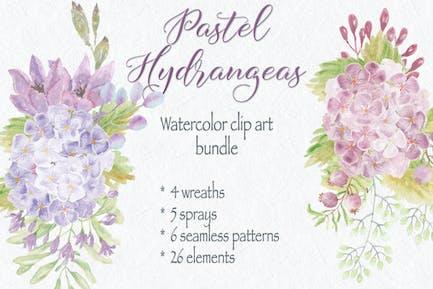 Pastel Hydrangeas: Watercolor Clip Art Bundle