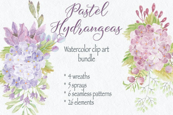 Thumbnail for Pastel Hydrangeas: Watercolor Clip Art Bundle