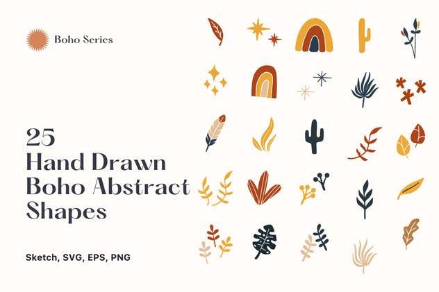 25 Hand Drawn Abstract Boho Shapes vol 6