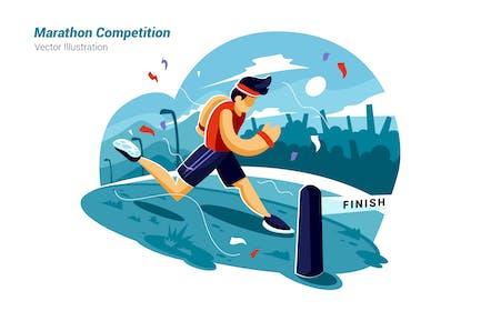Marathon-Wettbewerb - Vektor illustration