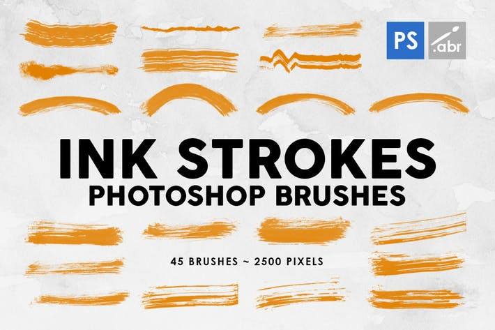 Thumbnail for 45 Ink Strokes Photoshop Stamp Brushes