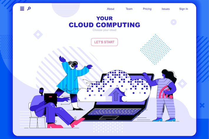 Thumbnail for Cloud Computing Flat Concept Landing Page Header