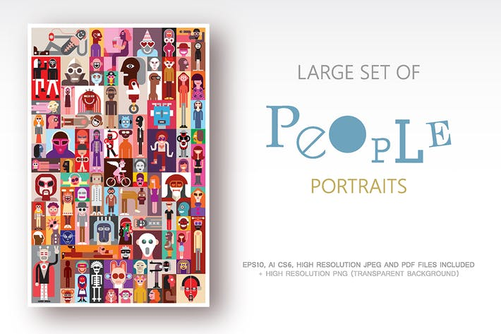 Thumbnail for Large set of People Portraits vector illustration