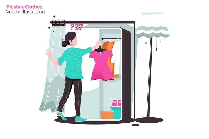 Thumbnail for Picking Clothes - Vector Illustration