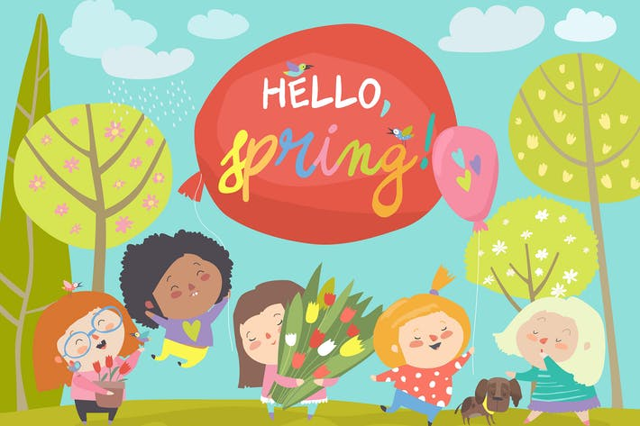 Cover Image For Cute little girls meeting spring in park. Vector