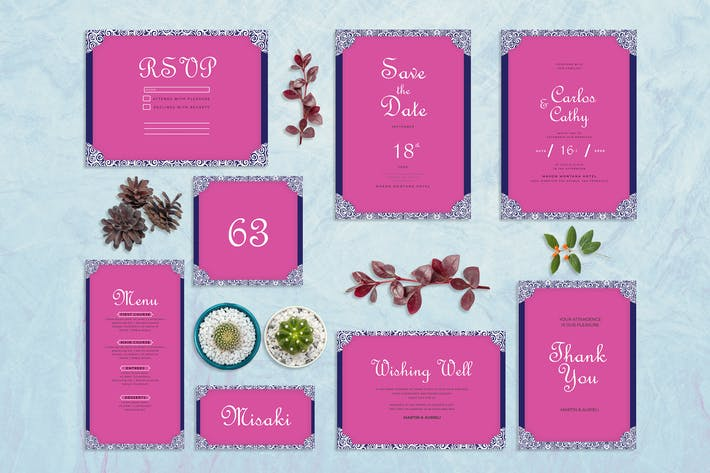 Thumbnail for Blue Pink - Wedding Invitation