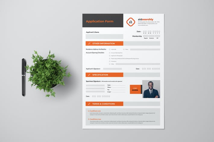 Thumbnail for Registration Form With Orange Accent