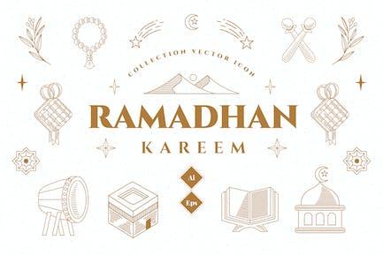 Ramadhan Set Icon Illustration